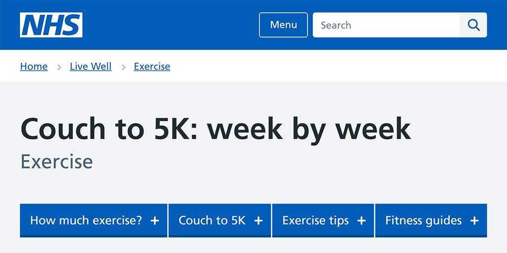 Screenshot of the Couch to 5K website.