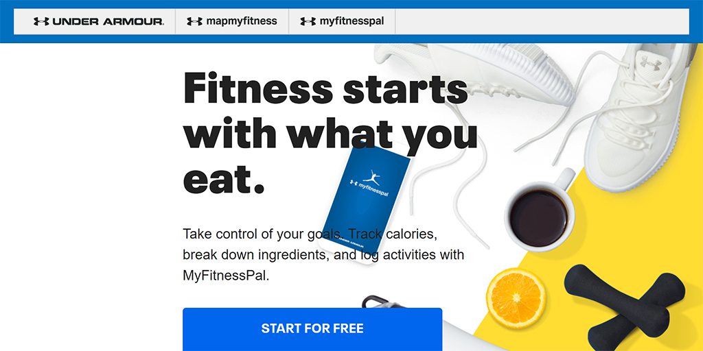 Screenshot of the MyFitnessPal website.