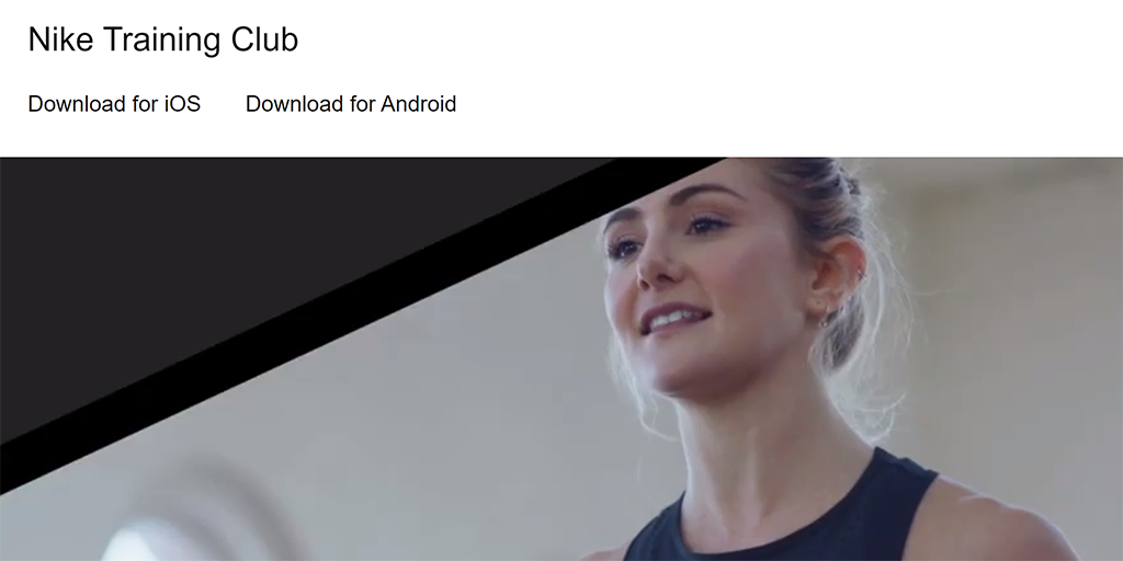 Screenshot of the Nike Training Club website.