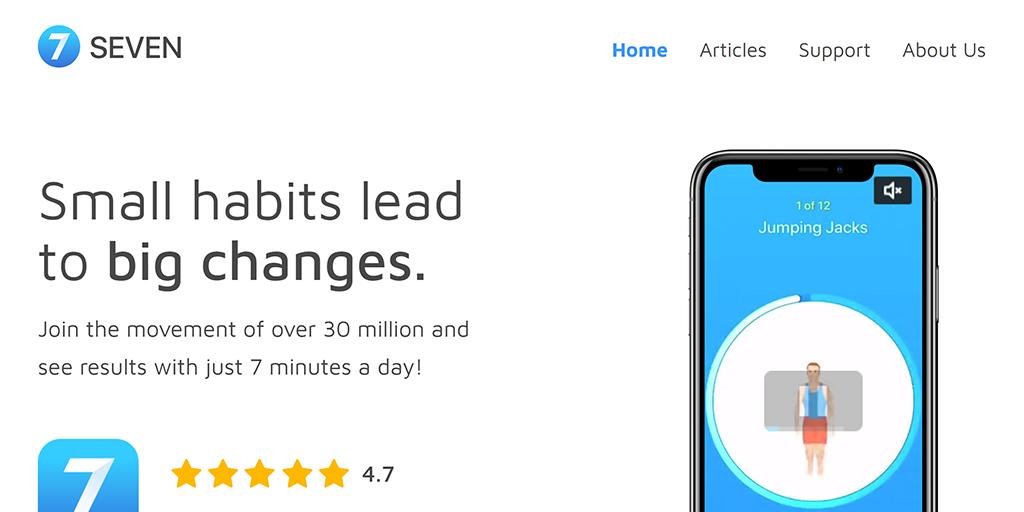 Screenshot of the Seven App website.