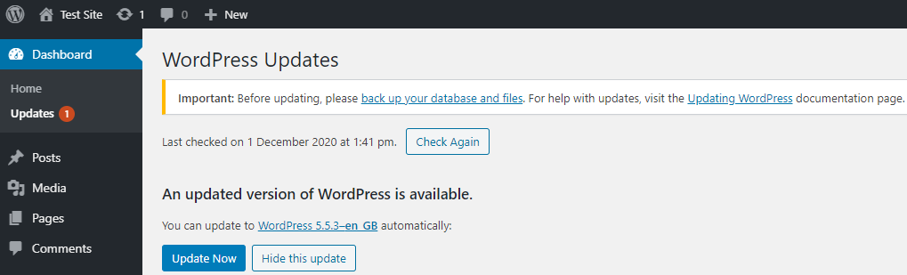 Screenshot showing an example of the WordPress update page.