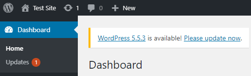 Screenshot showing the WordPress update notification.