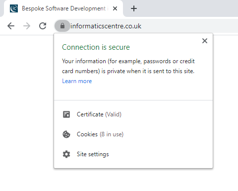 Screenshot showing valid certificate information for a DV certificate