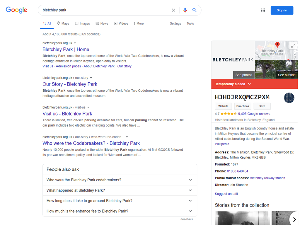 """Screenshot of Google Search """"bletchley park"""" decoding"""