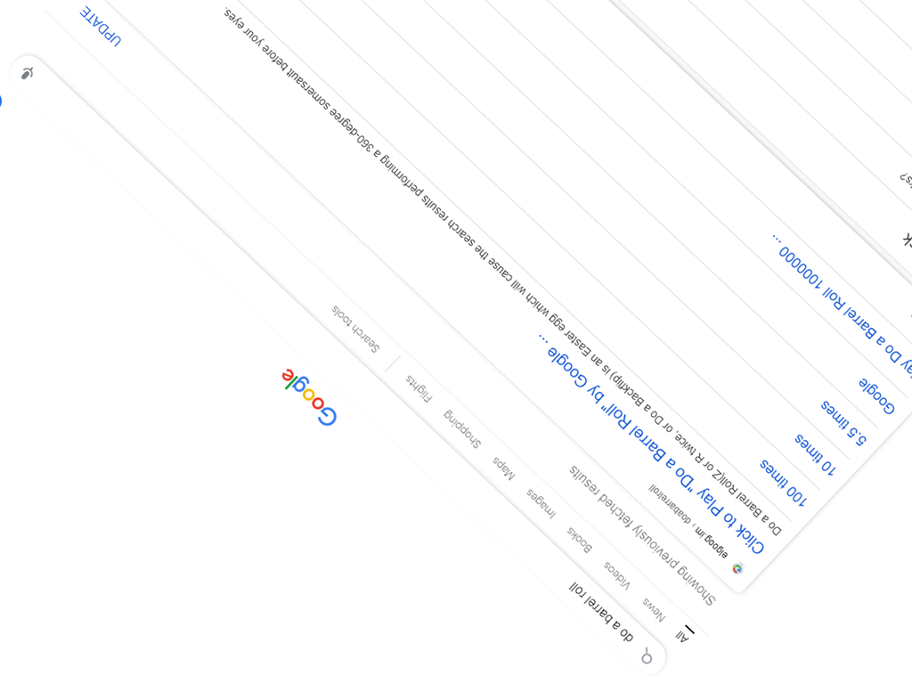 Screenshot of Google Search doing a barrel roll