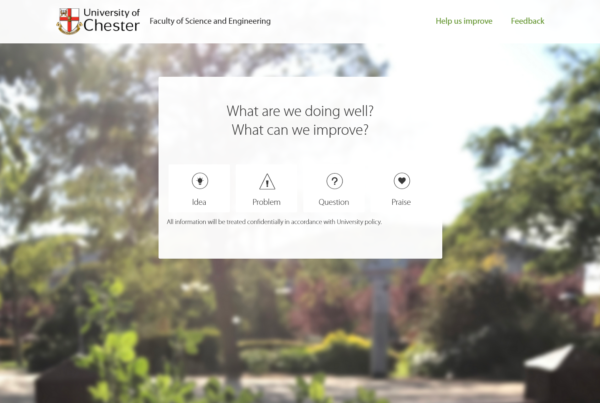 Feedback system home page displaying idea, problem, question and praise categories