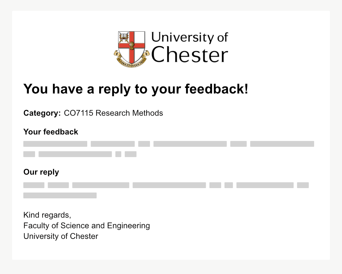 Example notification email for a response to student feedback