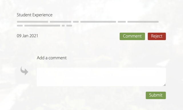 Student suggestion with an input box for providing a response