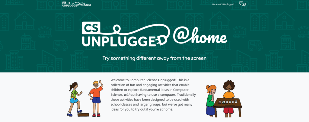 CS Unplugged website in August 2021