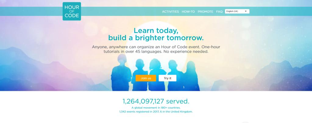Hour of Code website in August 2021