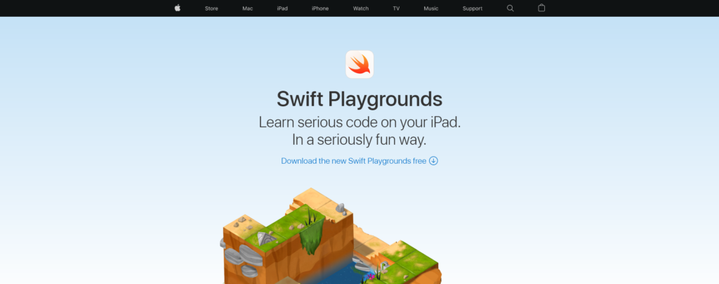 Swift Playgrounds website in August 2021